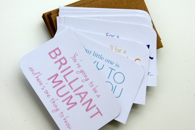 Little cards and envelopes for the guests to write a message to the expectant mum. Have since heard that the 'mum to be' was almost in tears reading them all at home! Available from The Green Gables.