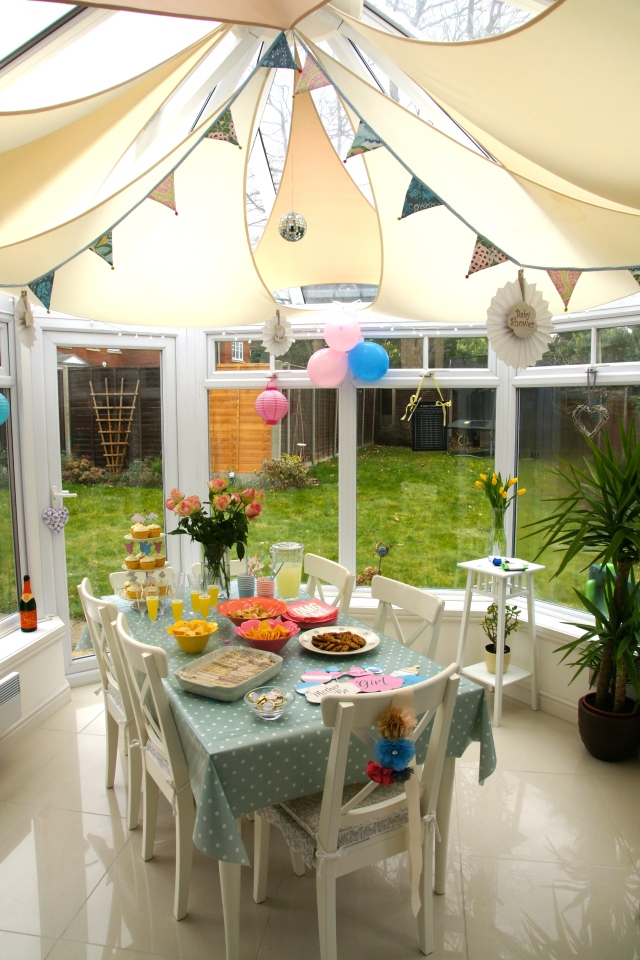 We kept the decor simple with bunting, pom poms and balloons. The yummy cupcakes were made by our friend Michelle and the rest was basically children's party food. I personally don't think you can beat cheese and marmite finger sandwiches.